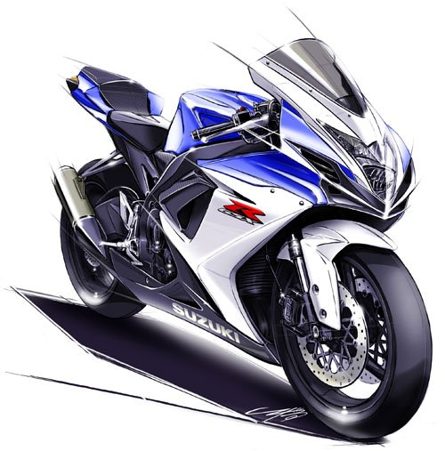 The GSX-R600 and GSX-R750 receive a ground-up redesign for 2011. The production bike will look nearly identical to this sketch.