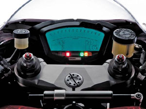 The 1098�s new instrument panel looks like it came straight from the MotoGP paddock. The only problem is that a rider has to play �Where�s The Redline� during each shift. The bitchin� machined triple clamp makes us wish we had paid attention in high school shop class.
