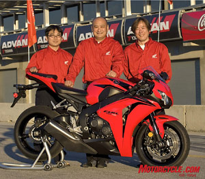 Kyoichi Yoshii, the CBR's Test Large Project Leader, was also the project leader of Nicky Hayden's RC211V in his championship year. Ryohei Kitamura – Electric Components Project Leader (left) and Yuzuru Ishikawa – Chassis Project Leader.