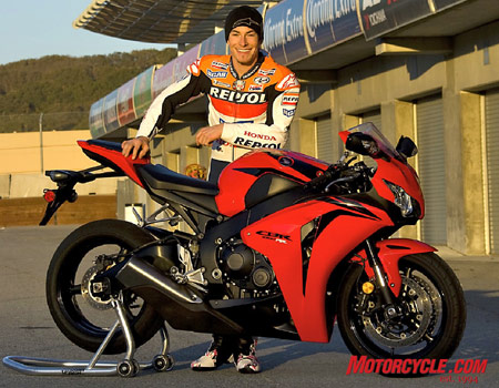Here's a guy who knows a thing or two about smooth transitions. Nicky Hayden, the 2006 MotoGP world champion, stopped by Laguna Seca for a quick spin aboard the new CBR.