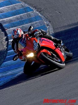 With almost 20 fewer pounds and slightly more aggressive steering geometry, the new CBR has cooperative agility that is apparent while flip-flopping down Laguna�s famous corkscrew.