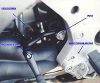 K12's complex adjustable footpeg/shifter setup