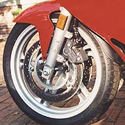 The usual four piston ABS Brembos, with trick floating discs attached directly to the wheels