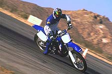 Even with only a change from knobbies to street tires, Yamaha's YZ250 motocross bike makes a great Supermotard mount.