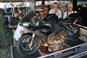 This 1125R was on display at the Laguna Seca MotoGP race. The clear shot of the left side of the bike is possible because the right-side reveals dozens of cutaway sections that drew big crowds.