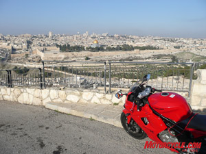 "And now for something completely different: A Korean bike with an Israeli backdrop, the GT650 overlooks the holy land of Jerusalem. The golden dome is the el-Aqsa, or ""Dome of the rock."""