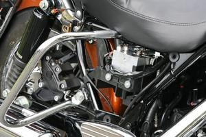 Here you can see the heart of the new ABS system tucked in descretly behind a side panel. Because of its relatively small size, it doesn't have to take up space behind a saddlebag.
