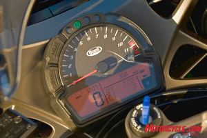 Analog tachometer is easy to see at a glance, but the remaining LCD part of instrument cluster can be difficult to read in daylight due to thin LCD character display.