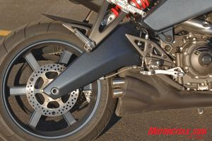 There's no black gold in this Buell swingarm. Note the visual absence of the rear brake caliper.