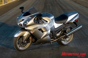 Atomic Silver is a new color for the revised ZX-14. Underneath is a new frame