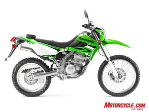 Not available in California until this year, the KLX250S received an evaporative emissions system in order to comply with CARB. We think CARB needs to go on a diet.