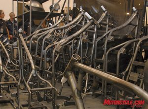 Various styles of frames waiting for their turn to go down the production line.