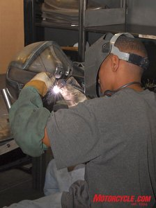 Here a Big Bear Chopper employee welds up a fuel tank prior to being pressure tested. BBC is so confident in their quality, the tanks carry a lifetime (original owner) warranty.