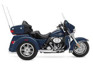 Harley's first trike is the 2009 Tri Glide, but the patent pictures below show a much different three wheeler.