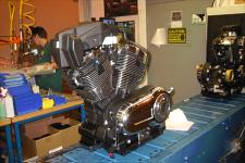 Freedom engine just prior to being tested. Two intake trumpets are located within the black, plastic airbox. It was reported that most of the power increase from this engine lies directly with this airbox and the changes to the timing that utilizing this airbox entailed.