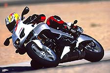 Mid-corner corrections were easily made and the bike was held back only by top-end power and the stock street tires.
