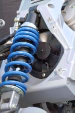 The linkless rear shock takes the place of the old-style unit that found itself below the motor.