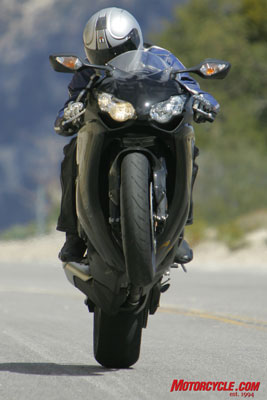 With Duke constantly putting the CBR¹s front end in the air like this, it¹s hard to believe we were able to discern its brakes as best-in-class.