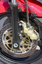 Six piston Tokico brakes combined with 310mm discs work effectively to throw-the-anchor-out.