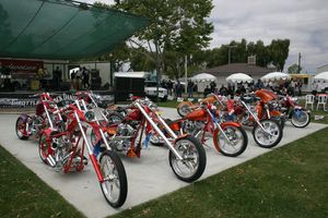 These were the winning bikes in the custom show. Looks like you need to paint your bike red, orange, or rootbeer, if you plan on winning this show -Sean