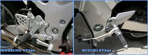 The Hyosung's footpegs (left) look cheap, but the adjustable bracket is a touch only expected on $16,000 bikes.