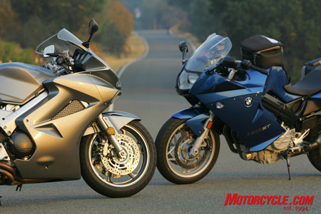 Honda's VFR800 Interceptor faces off against BMW's F800ST.