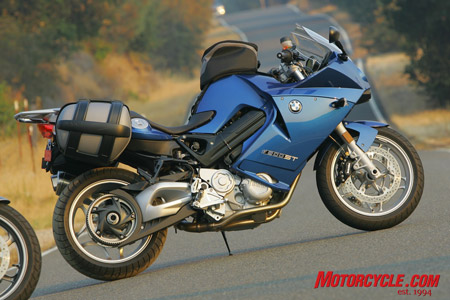 The BMW F800ST is the sport-touring version of the F800S. Note the underseat fuel cap just ahead of the optional Sport Case expandable saddlebag.