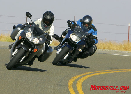 Both bikes are adept at sport riding, but the F800's lighter weight pays dividends in tighter corners.