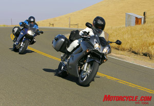 Given an open road, the VFR can gallop away from the F800, but the BMW's grunty parallel-Twin has its own advantages over the peakier Honda V-Four.