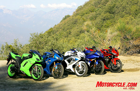 The contenders in Motorcycle.com�s 2008 Supersport Shootout.