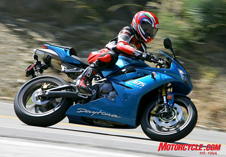 Triumph�s Daytona 675 is the old man of the group being unchanged since its 2006 introduction. This bike doesn�t need Depends though; the world seems to love it!