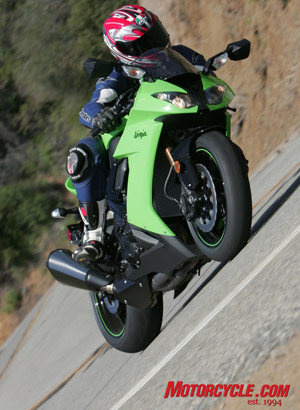 A drawback on the ZX-10R for Jeff, who stands 6 feet, was the tight seat-to-peg relation. Even Pete and Kevin, both shorter than Jeff by at least one fathom, felt the Ninja would be a good candidate for adjustable rearsets.