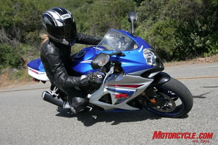 Alex, the only girl brave enough to suffer a group of mutant dudes, echoed Pete's sentiments that the GSX-R is easy to ride thanks in part to its overall trim and smaller feel.