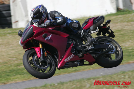 The R1's top-end-biased power is a drawback on the street, but it performs as well as anything on the track.