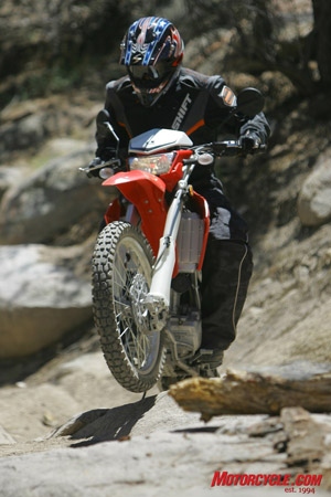 The KLX's 11-plus inches of ground clearance and adjustable suspension package give the rider the ability to take nearly any line.
