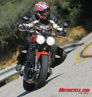 The Speed Triple doesn't just wheelie like a bandit, it handles, too.