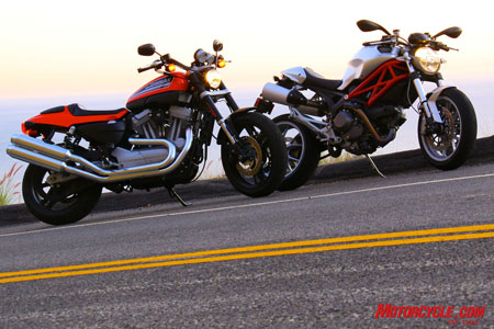 In any light, the Harley-Davidson XR1200 and Ducati Monster 1100 can look like the best bikes in the world for those who love these kinds of machines.