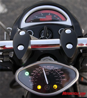 The Warrior includes an LCD tachometer and analog speedo; both are seen easily while riding.