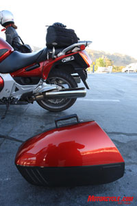 The Honda ST1300 didn't look as stylish with its saddlebags removed. Be sure to look in the photo gallery of this story for comparative pics of all four bikes with saddlebags removed.