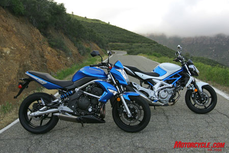 The 2009 Kawasaki ER-6n and 2009 Suzuki Gladius. Every man�s dream: naked Twins!