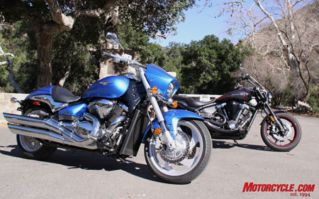 New regime versus the old guard. 2009 Suzuki Boulevard M90 and 2009 Star Warrior.