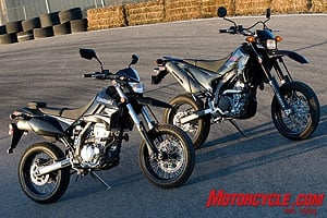 The Kawasaki KLX250SF lines up next to its classmate, the Yamaha WR250X.
