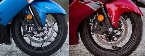2012 Kawasaki ZX-14R and Suzuki Hayabusa LE front wheels