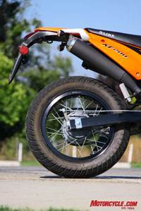 The QLINK�s low-tech drum rear brake performed better than the Honda�s caliper and disc rear brake.