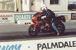 "Chuck ""I'm going to smoke all you clowns"" Graves on his way to an incredible 10.79 second run at 126.78 mph. We only made 11 passes before the clutch fried -- Chuck felt the little ZX could've done better."