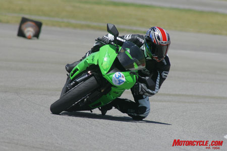 The ZX-6R, though not quite as quick as the Daytona on initial turn-in, is otherwise wonderfully easy to steer and predictable throughout the turn.