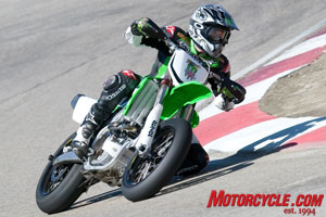 Roger Lee Hayden shows his championship-winning form on his KX450F supermoto machine.