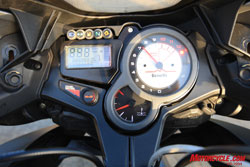 The Benelli�s instrument package is a little more robust in terms of amount of data offered in the LCD. However, neither bike�s LCD is what we�d call intuitive.