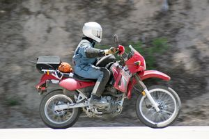 We liked the KLR on the twisties and tolerated it on the freeway.
