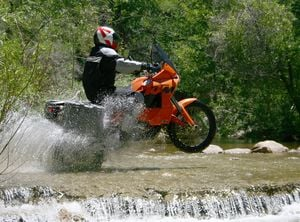 The KTM's front end gets light when it's pulling a water-skier.